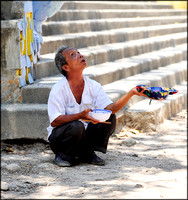 Blind Man Begging at Temple