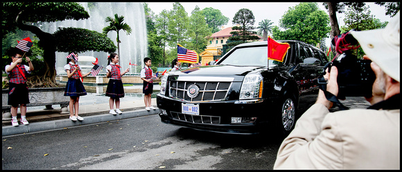 "The POTUS arrives in the ""Beast"" as his Limo is referred to"
